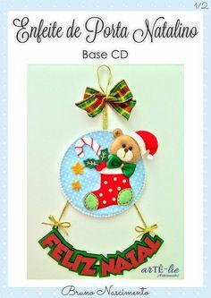 enfeite de natal lindo com cd em feltro