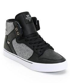 66187b60ab Supra Vaider Black Leather   Grey Wool Skate Shoes