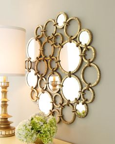 Mirrored Rings Wall Decor in gold