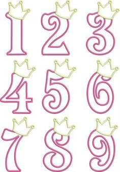 Birthday Princess Numbers- so cute! I& thinking of making the numbers in Candy Melts (fill in solid) and adding to the cake for the Birthday Princess! Royal Icing Templates, Royal Icing Transfers, Cake Templates, Cake Decorating Tips, Cookie Decorating, Princess Cookies, Fondant Letters, Fondant Numbers, 3d Letters