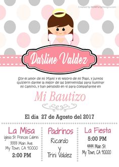 Tarjetas de Bautizo Invitaciones de Bautismo Recuardos Communion Favors, Frozen Birthday Party, 3rd Birthday, Birthday Ideas, Baby Baptism, Baptism Ideas, First Communion, Printable Invitations, Ideas Para Fiestas