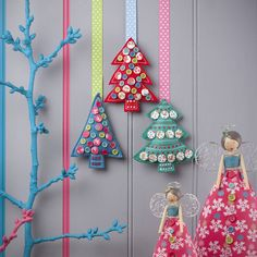 button tree christmas decoration by the contemporary home   notonthehighstreet.com