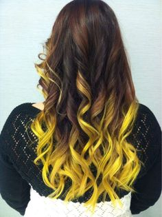 Long Wavy Ash-Brown Balayage - 20 Light Brown Hair Color Ideas for Your New Look - The Trending Hairstyle Yellow Hair Color, Brown Hair Colors, Neon Yellow, Yellow Black, Dip Dye Hair, Dye My Hair, Neon Hair, Ombre Hair, My Hairstyle