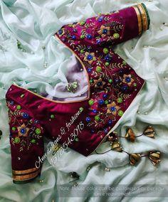 Simple Blouse Designs, Silk Saree Blouse Designs, Bridal Blouse Designs, Embroidery Fashion, Flower Embroidery, Beaded Embroidery, Hand Embroidery, Handmade Embroidery Designs, Maggam Work Designs