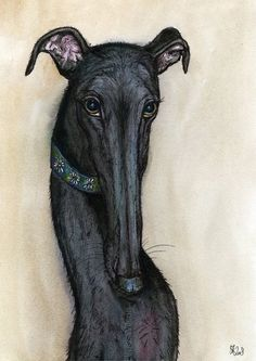 If you still don't know Elle J. Wilson's work I highly recommend you to visit her page and take a look at her paitings. There is a 90% of chance that you will find your greyhound in her paintings. And if you like it... (you will) Like her page https://www.facebook.com/pages/Almost-an-Angel-66/181588098556936