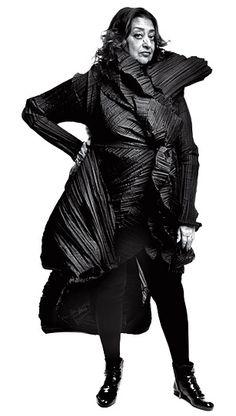 Zaha Hadid wearing intergalactic basic black