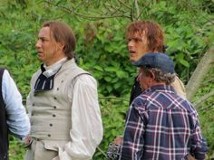 Season 2 Dragonfly in Amber | Sam and Tobias Filming 'Outlander' in Pollok Country Park, Glasgow. Sam Heughan (Jamie Fraser) and Tobias Menzies (Black Jack Randall) are in the midst of fight/duel.
