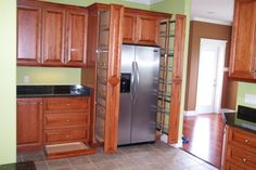 Pull out pantry for the space next to the fridge. First Kitchen, Kitchen And Bath, Pull Out Pantry, Kitchen Cabinets, Kitchen Appliances, Kitchen Storage Solutions, Bath Design, French Door Refrigerator, Kitchen Design