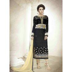 Black Velvet Designer #Churidar Kameez With Dupatta- $91.44