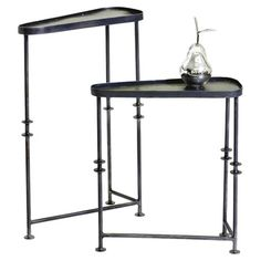 2-Piece Parker Side Table Set Set of two asymmetrical iron side tables.  Product: Small and large table Construction Material: IronColor...