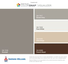 I found these colors with ColorSnap® Visualizer for iPhone by Sherwin-Williams: Dovetail (SW Dorian Gray (SW Pure White (SW Kilim Beige (SW French Roast (SW Exterior Paint Schemes, Paint Color Schemes, House Paint Exterior, Brown Accent Wall, Accent Colors For Gray, Interior Paint Colors, Paint Colors For Home, Interior Design, Room Interior