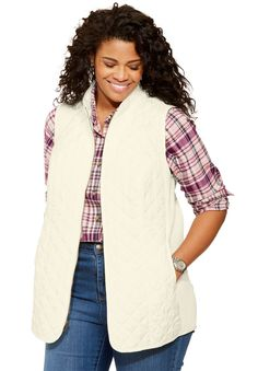 Freedom vest with diamond quilting and ribbed knit panels - Women's Plus Size Clothing #rings #weddingrings #promiserings #diamondrings #mensrings
