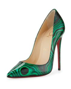 Christian Louboutin OFF!>> Christian Louboutin So Kate Marbled Red Sole Pump Green/Black - Shoes Post High Heel Pumps, Slip On Pumps, Low Heel Shoes, Stilettos, Pointed Toe Pumps, Slip On Shoes, Pumps Heels, Toe Shoes, Louboutin Pumps