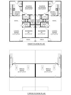 House Plan D1526-2 DUPLEX 1526-2 floor plan