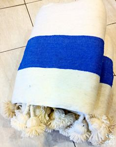 Beautiful Moroccan Blanket Wool with pompoms on by HandiraBlankets, $109.00
