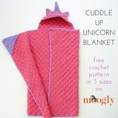The Cuddle Up Unicorn Blanket features the corner to corner stitch, super cozy styling - and a spiral horn ready for any little one's fairy tale dreams. Crochet Gratis, Free Crochet, Knit Crochet, Graph Crochet, Crochet Afgans, Easy Crochet, Crochet Unicorn Blanket, Crochet Blanket Patterns, Crochet Blankets