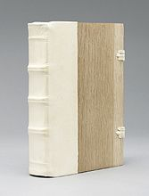 Model of a German binding, 16th century AD  Handmade paper text block sewn double-flexible  Wooden boards with spine of alum tawed goat  Braided leather closures with brass hardware