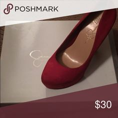 Jessica Simpson red pumps Shoe has been slightly worn. Shoe is red. Size 4+ heel. Shoe does shoe wear under the bottom from walking in them but nothing major. Jessica Simpson Shoes Heels