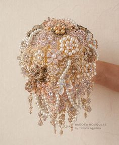 Cascading Brooch bouquet. Gold vintage wedding by MagnoliaHandmade