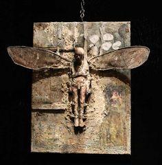 Assemblage by Marc Janssens Found Object Art, Found Art, Mixed Media Sculpture, Sculpture Art, Kintsugi, Art Altéré, Art Brut, Small Sculptures, Paperclay