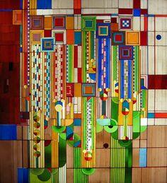 '<3' Saguaro artglass panel by Frank Lloyd Wright, at the Arizona Biltmore Hotel, Phoenix