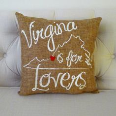 Virginia Is For Lovers Burlap Pillow
