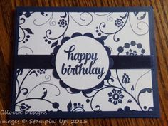 Sweet and simple birthday card made with Flowering Flourishes and Tin of Cards…
