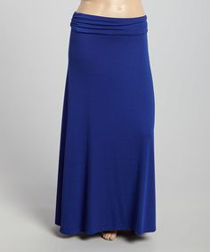 Look at this #zulilyfind! Royal Blue Fold-Over Maxi Skirt - Plus #zulilyfinds