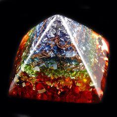 Chakra Orgone Energy Generator Pyramid .. Tibetan and Arkansas Crystals, Amber, Rhodizite, Phenacite, Selenite, Shungite, Tourmaline (622)