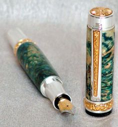 Paragon,Fountain Pen, Green stone with gold and silver