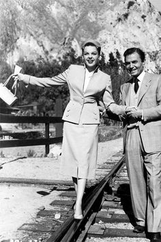 """James Mason and Judy Garland during the filming of """"A Star Is Born"""" in (1954)"""