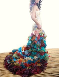 Wow! Rainbow wedding dress could really be for any glam occasion. This is wearable art is 'red carpet wow'!