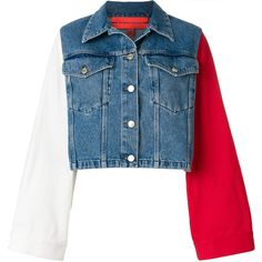 Tommy Hilfiger colour block cropped denim jacket (£345) ❤ liked on Polyvore featuring outerwear, jackets, coats & jackets, denim, sweaters, blue, oversized jacket, long denim jacket, blue cropped jacket and long jean jacket