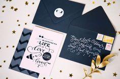 Graphic + Glitz Wedding Invitations & Paper Details
