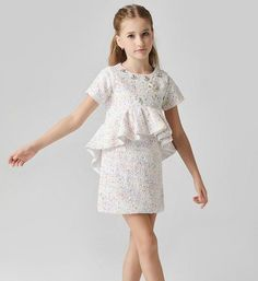 Girly Shop's Off White & Light Pink Simple Sequin & Beaded Applique Round Neckline Short Sleeve Knee Length Tiered Infant Toddler Little & Big Girl Party Ruffle Dress