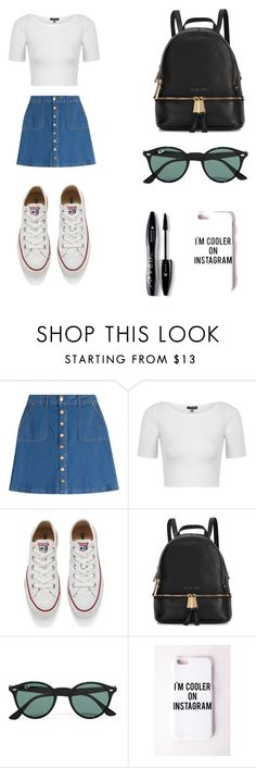"""""""casual outfit"""" by nickplumber ❤ liked on Polyvore featuring HUGO, Topshop, Converse, Michael Kors, Ray-Ban, Missguided, Lancôme, women's clothing, women and female"""