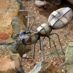 Ants made from rocks and metal