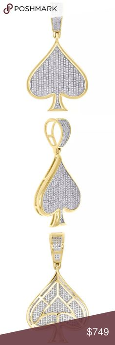 "♠️ Real Diamonds Solid 10K Gold Spade Pendant Mens PRODUCT DESCRIPTION This eye-catching Spade diamond pendant is crafted in 10K yellow gold & shimmering white diamonds, ensuring sparkle from every angle.  Theme: Spade Shape Poker Ace Charm Metal Type: Yellow Gold Metal Purity: 10k Gram Weight (Approx.): 5.1 gr. Length: 1.50"" (including bail) Width: 0.85"" Thickness: 3.25mm Back: Caged  Diamond Information Total Carat Weight: 0.46 ct. Diamond Shape: Round Diamond Creation: Natural Diamond…"