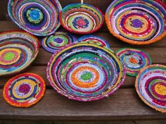 Colorful Handcrafted Coiled Fabric Bowls