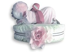 Custom Pink Rose! Diaper Baby Cake Perfect for a baby shower gift, a baby shower centerpiece, a hospital gift or nursery decor. Want to customize or personalize your gift? Ask us how! Now offering hospital delivery! www.everythingandthebaby.com