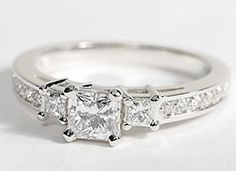 Trio Princess Cut Pav Diamond Engagement Ring in 14k White Gold #BlueNile