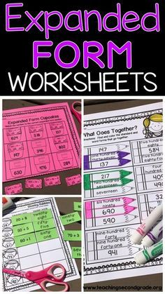 Expanded Form Worksheets - Use these no prep printables with your 1st, 2nd, and 3rd grade classroom or home school students. They great to work on place value - standard, expanded, and written form. You get activities for cut & paste, base ten, coloring, finding matches, a booklet, and more that all help master place value. These are great for math centers or stations, early or fast finishers, homework, seat work, review, and more. Grab them now! {first, second, third graders}