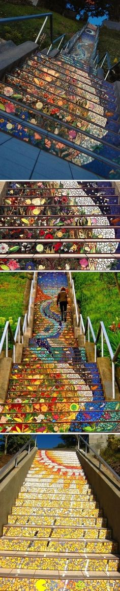 #Mysterious #Mosaic #Stairs - 4 different views of stairways going down!