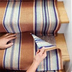 Mate the Second Runner to Install a Flat-Weave Cotton Stair Runner Carpet Staircase, Stairs And Staircase, Staircase Design, Spiral Staircases, Staircase Makeover, Hall Carpet, Basement Stairs, Stair Runner Rods, Staircase Runner