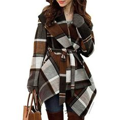 Shop a great selection of Chicwish Women's Turn Down Shawl Collar Check/Grid/Black Asymmetric Hemline Wool Blend Coat. Find new offer and Similar products for Chicwish Women's Turn Down Shawl Collar Check/Grid/Black Asymmetric Hemline Wool Blend Coat. Stylish Outfits, Winter Outfits, Fashion Outfits, Uk Fashion, Work Outfits, Fashion Clothes, Fashion Women, Trending Fashion, Winter Fashion