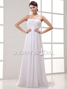 Beach A-Line Floor Length Chiffon Strapless Empire Waist Wedding Dress - US$ 126.99 - Style W0639 - Snowy Bridal