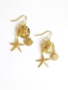 5ff416287 Gold Starfish Earrings Little Mermaid Jewelry Sand Dollar Seashell Sea  Shell Nautical Charm Beach Ar
