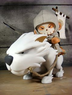 Huck Gee's Wolf Rider ~ adorable, beautifully detailed (see the rear view for the little bear wrapped in his tail!