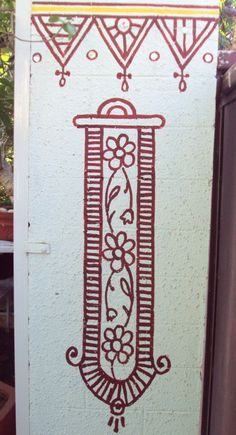 An example of Indian tribal wall art fillers you can use - Note how a random pillar has been painted with this filler