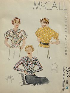 McCall 1930s blouse pattern 7879